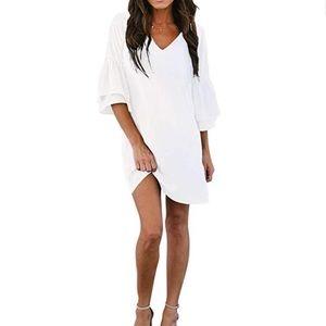 Dresses & Skirts - Boutique White V-Neck Bell Sleeve Shift Dress